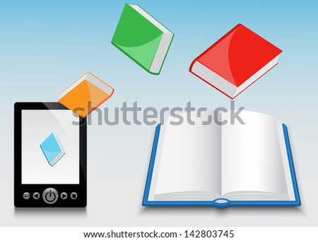 E-book of black fly different paper books  - stock photo