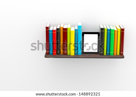 E-book on a shelf of books, concept of education - stock photo