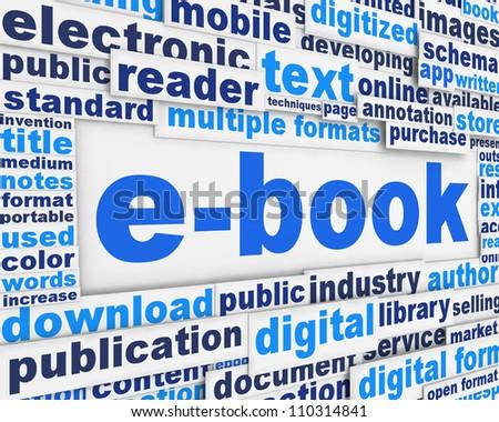 E-book poster conceptual design. New media message concept - stock photo