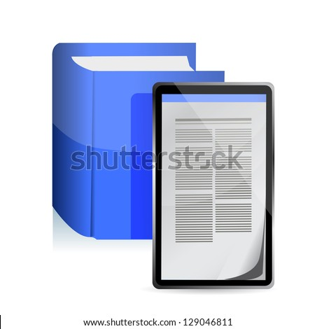 E-book reader concept. Tablet pc illustration design - stock photo