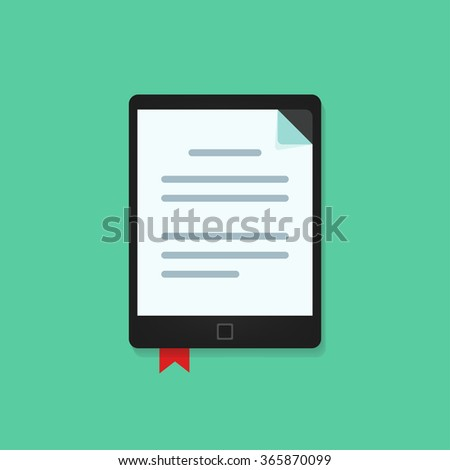 E-book reader device with text document icon folded corner and red bookmark, concept of electronic book reader, e-reader icon, e-learning application, tablet mobile book flat design isolated image - stock photo