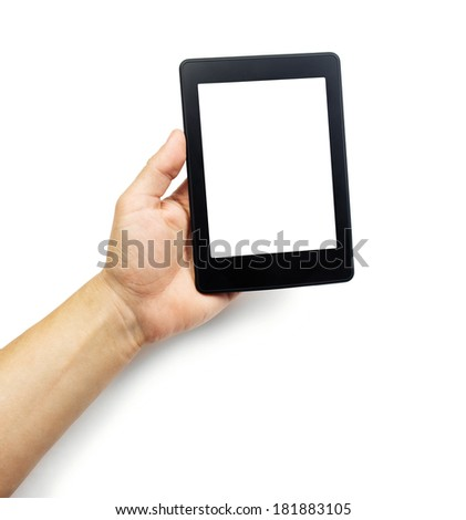 E-book reader or tablet pc in hand, isolated on white - stock photo