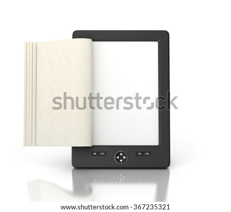 e-book reader tablet with empty pages isolated - stock photo