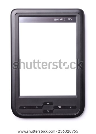 E-book reader with a blank screen isolated on white - stock photo