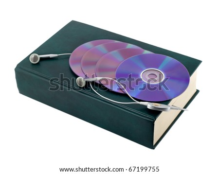 e-book with cd isolated on white background - stock photo