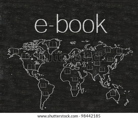 e book with world map written on blackboard background high resolution