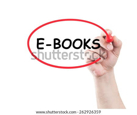 E books concept made on transparent wipe board with a hand holding a marker - stock photo