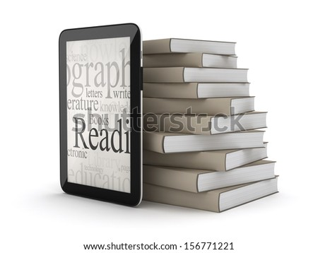E-books - tablet computer and stack of books - stock photo