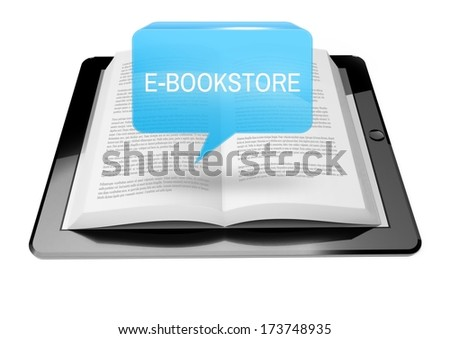 E-bookstore icon button above ebook reader tablet with text
