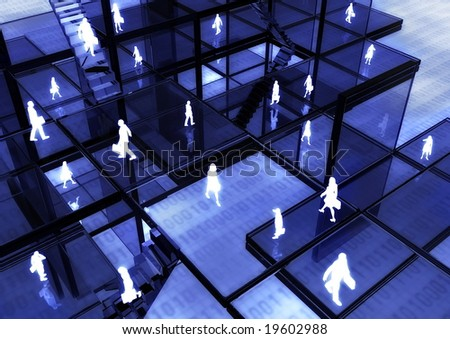 E-business concept illustrated with people doing activity in futuristic virtual world.