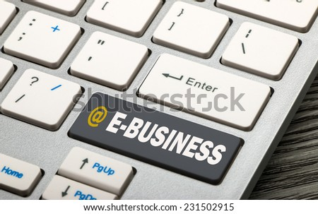 e-business concept on keyboard - stock photo