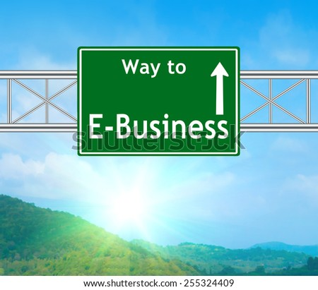 E-Business Green Road Sign concept with resplendent clouds and sky.