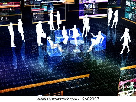 E-business meeting concept illustrated with people doing activity in futuristic virtual world. - stock photo