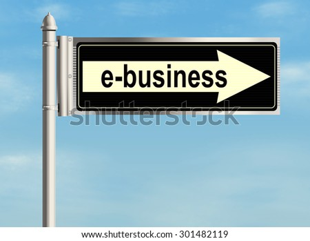 E-business. Road sign on the sky background. Raster illustration.
