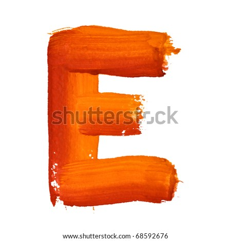 E - Color letters isolated over the white background