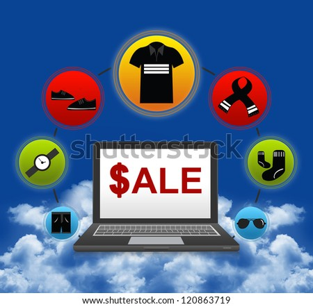 E-Commerce and Online Shopping Concept Present by Computer Notebook With $ale on Screen and Men Fashion Icon Around in Blue Sky Background - stock photo