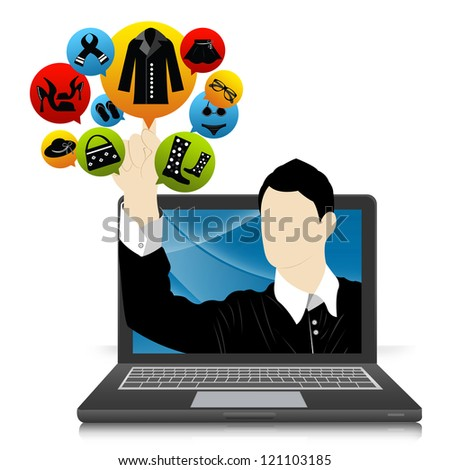 E-Commerce and Online Shopping Concept Present by Computer Notebook With Businessman Pointing to Colorful Women Fashion Icon Isolate on White Background - stock photo