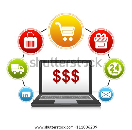 E-Commerce and Online Shopping Concept Present by Computer Notebook With Red Dollar Sign on Screen and Icon Around Isolate on White Background - stock photo