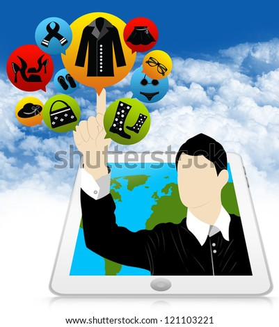 E-Commerce and Online Shopping Concept Present by Tablet PC With Businessman Pointing to Colorful Women Fashion Icon in Blue Sky Background - stock photo