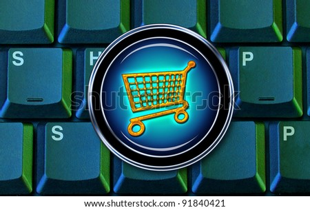 E-Commerce and Shopping on the Computer. - stock photo