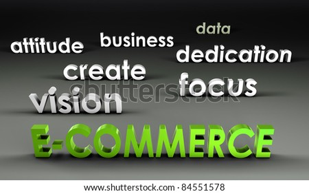 E-Commerce at the Forefront in 3d Presentation - stock photo