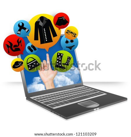 E-Commerce Business and Internet Online Shopping Concept Present by Computer Notebook With Hand and Colorful Women Fashion Icon Above Isolate on White Background - stock photo