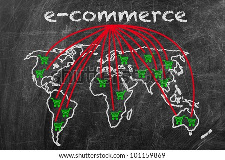 E-commerce business written on a blackboard with world map sign - stock photo