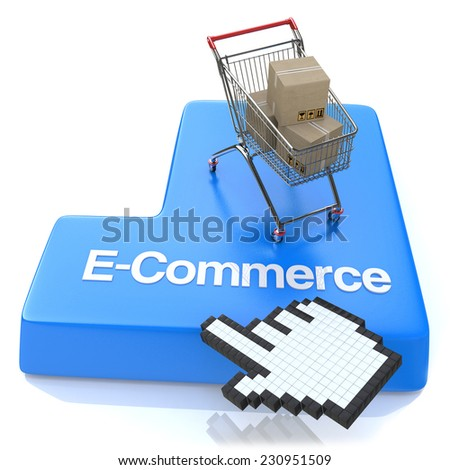 E-commerce button - Online shopping concept  - stock photo