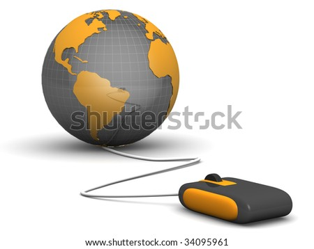 E commerce concept a computer mouse navigate with a globe 3d illustration - stock photo
