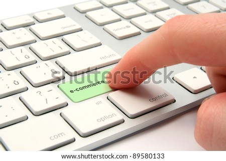 E-commerce concept - computer keyboard with e-commerce keypad - stock photo