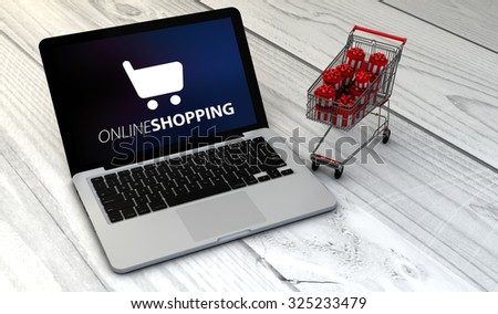 e-commerce concept: Digital generated laptop with shopping cart full of christmas or gift boxes over wooden desk with online shooping - stock photo