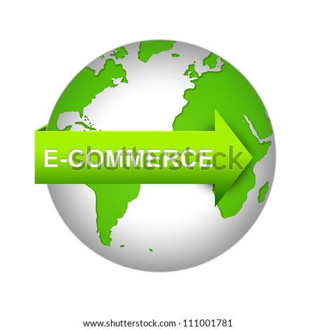 E-Commerce Concept Present By Green Earth With E-Commerce Arrow Isolated on White Background - stock photo