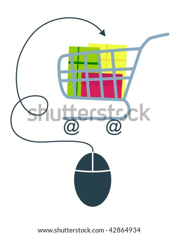 E-commerce concept with computer mouse and shopping trolley. JPG version. - stock photo