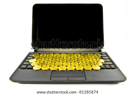E-commerce concept with Gold Coil and laptop isolated on the white
