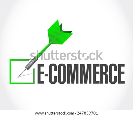 e-commerce dart check of approval illustration design over a white background - stock photo