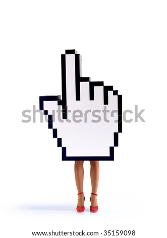 E-commerce hand cursor with the legs of a woman isolated on white background