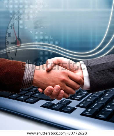 e-commerce handshake over technology background - stock photo