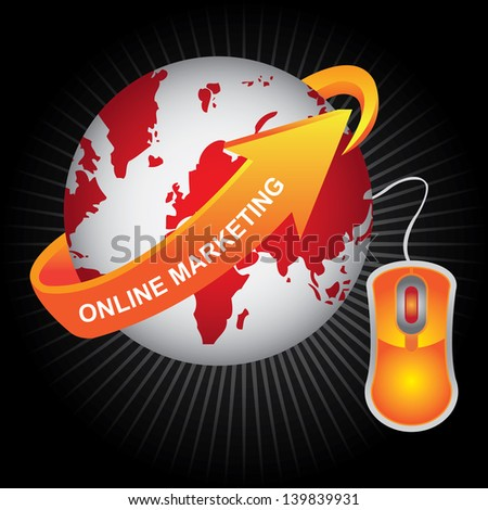 E-Commerce, Internet, Online Marketing, Online Business or Technology Concept Present By Red Earth With Orange Online Marketing Arrow and Orange Mouse in Dark Shiny Background - stock photo
