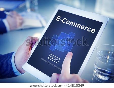 E-Commerce Marketing Online Register Enter Technology Concept - stock photo