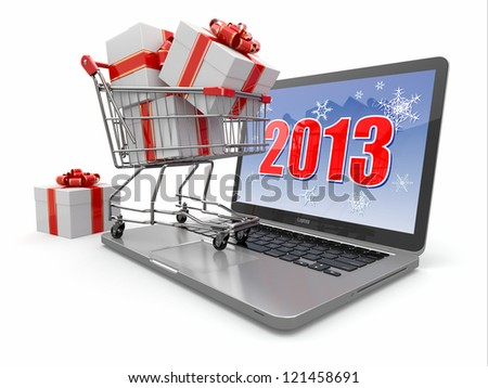 E-commerce. Shopping cart and gifts on laptop. 3d - stock photo