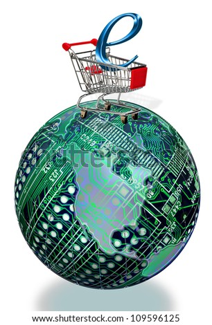 E-Commerce Shopping On Top Of the World. - stock photo