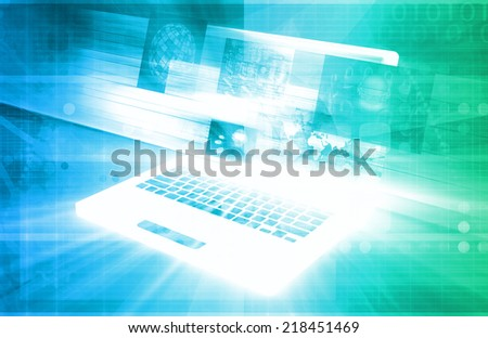 E-Commerce Solutions with Online Notebook Shopping Art - stock photo