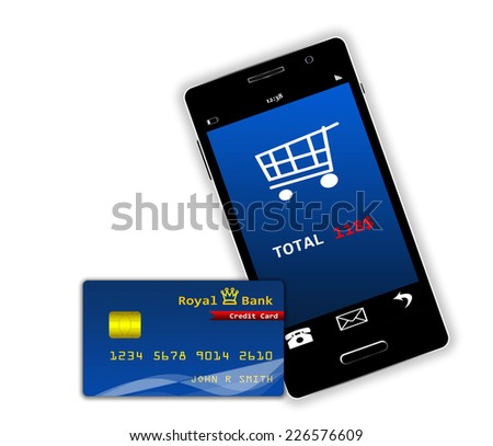 e-commerce with cell phone and credit card. Isolated