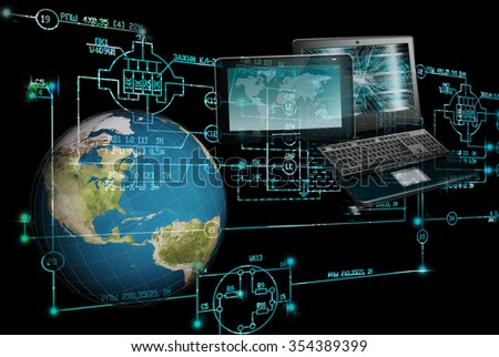E-computer designing engineering technology. - stock photo