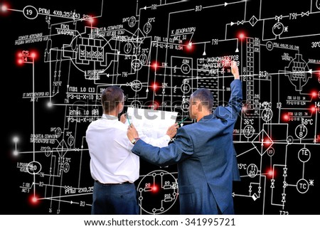E-connection engineering technology - stock photo