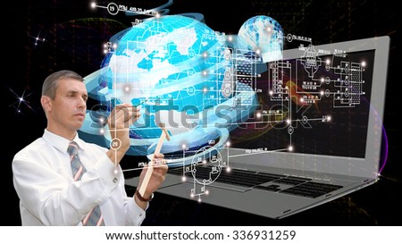 E-connection engineering technology.Working Engineer - stock photo