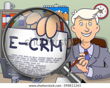 E-CRM. Businessman in Office Workplace Shows through Magnifying Glass Paper with Text. Colored Modern Line Illustration in Doodle Style. - stock photo