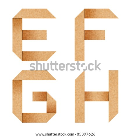 E,F,G,H Origami alphabet letters from recycled paper with clipping path