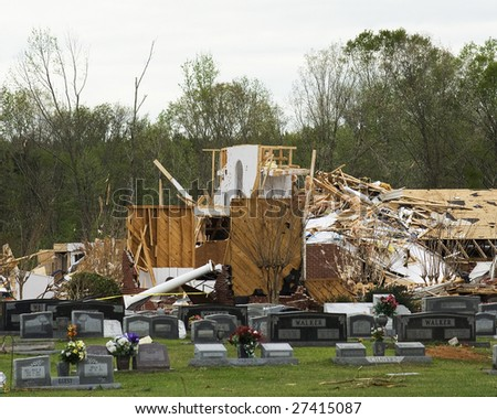 E F 3 Tornado in Magee, Mississippi March 26, 2009 destroys Corinth Baptist Church. - stock photo