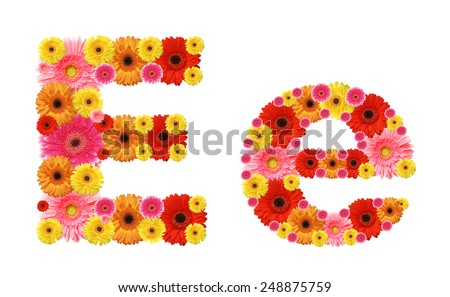 e, flower alphabet - stock photo